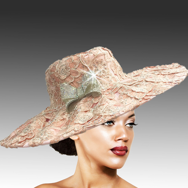 2316 Cardinal-PI ( Delicately Embroidered Lace Hat With Silver Soutache And Diamond Dust Crystal )
