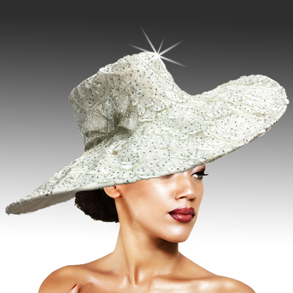 2316 Cardinal-WH ( Delicately Embroidered Lace Hat With Silver Soutache And Diamond Dust Crystal )