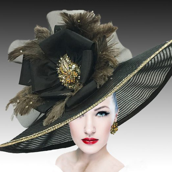 2400 My Fair Lady-BL ( Oversized Brim Hat With Horsehair Brim And Rhinestone Accents )