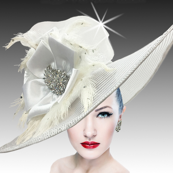 2400 My Fair Lady-WH ( Oversized Brim Hat With Horsehair Brim And Rhinestone Accents )