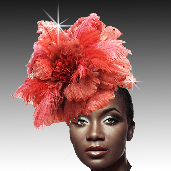 2404 Amazonia-RE ( Oversized Fascinator With Tonal Ostrich Plumes And Crystals With Sculpted Petals )