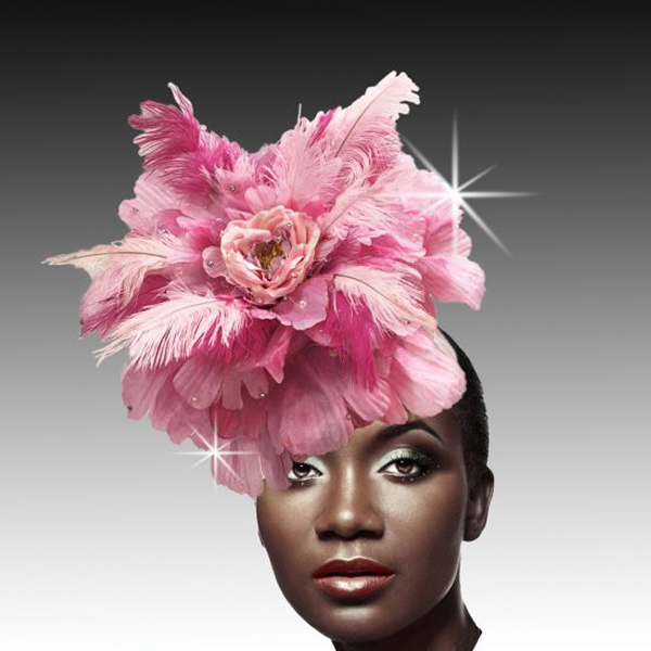 2404 Amazonia-PI ( Oversized Fascinator With Tonal Ostrich Plumes And Crystals With Sculpted Petals )