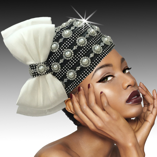 2406 Nefertiti-BL ( Jewel Embellished Bubble With Coquettish Profile Bow )