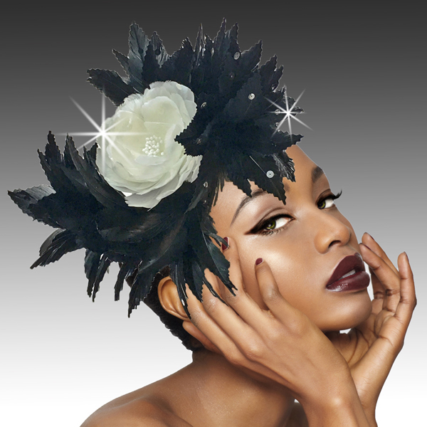 2420 Phoenix-BL ( Feather Headband Fascinator Styled In The Elegant Way Of The Phoenix )