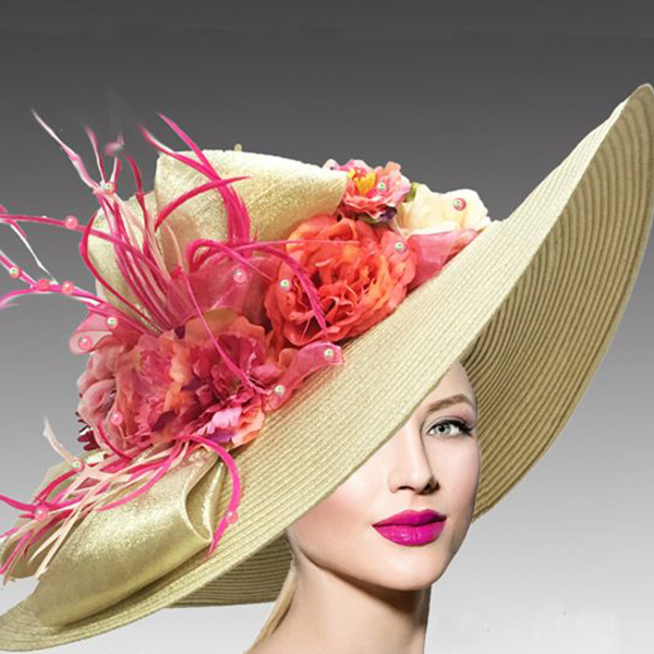 2408 Brooke-GO ( Large Brim Metallic Tone Hat With An Overgrown Garland Of Flowers And Feathers )