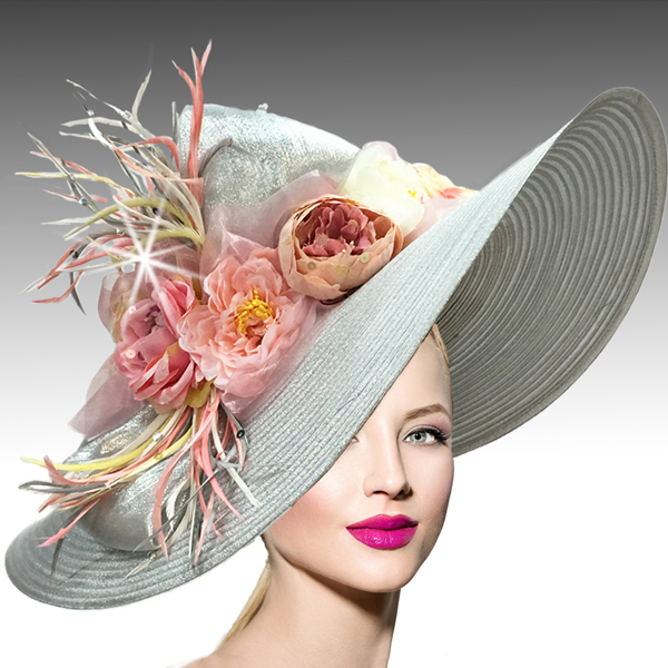 2408 Brooke-SI ( Large Brim Metallic Tone Hat With An Overgrown Garland Of Flowers And Feathers )