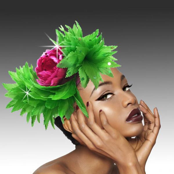 2420 Phoenix-GR ( Feather Headband Fascinator Styled In The Elegant Way Of The Phoenix )