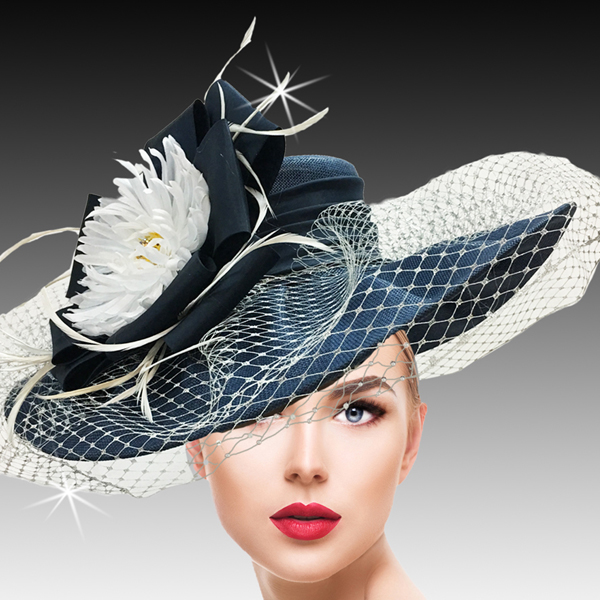 2415 York-NA ( Garden Party Hat With Delicate Metallic Veil Circle Bow With Sequins Crystals And Feathers )