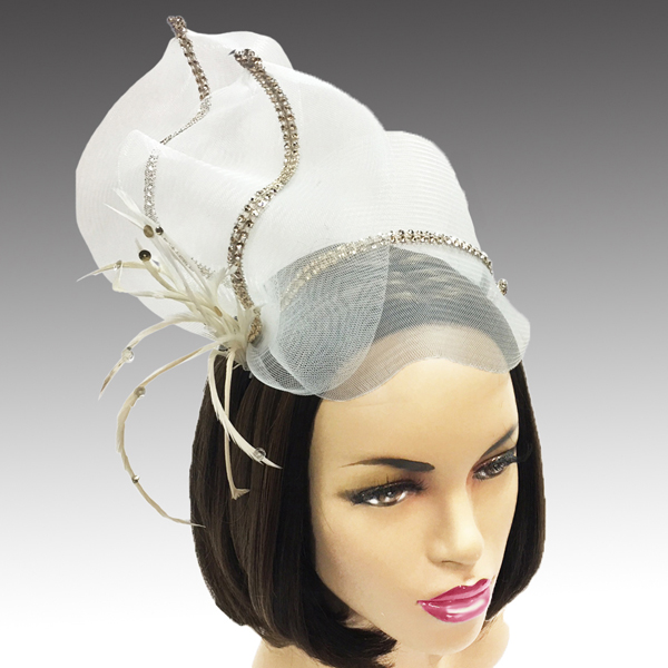 2314 Joyce-CH ( Derby Cartwheel Hat With Tailored Twin Bow And Boutonniere Bloom And Crystal Center )