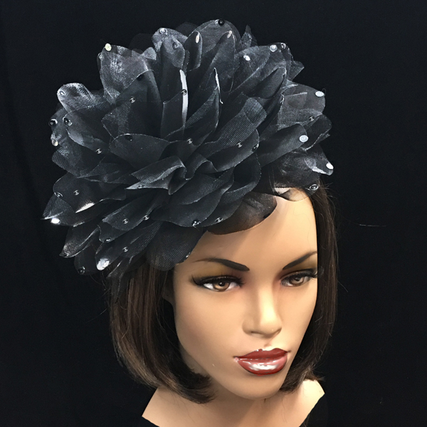 1705 Ian Fascinator-BL ( Decorative Headband With Oversized Shimmer Organza And Tulle Flower )