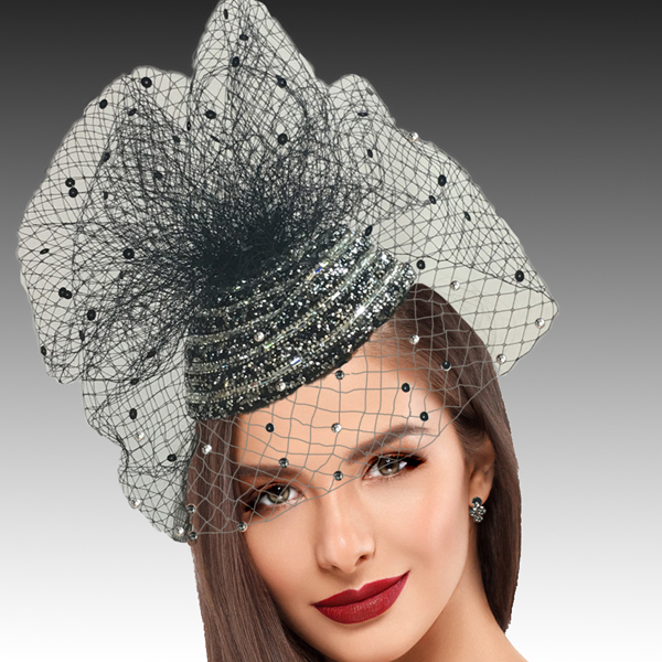 2422 Enzo-BL ( Pave Crystal Encrusted Fascinator With A Coquettish Veil Sprinkled With Sparkles )