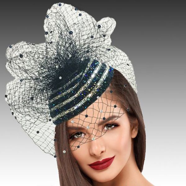 2422 Enzo-NA ( Pave Crystal Encrusted Fascinator With A Coquettish Veil Sprinkled With Sparkles )
