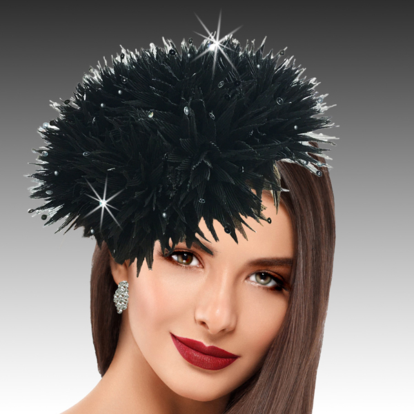 2424 Sea Urchin-BL ( Spiked Organza Sea Urchin Juliette Cap Fascinator Sprinkled With Sparkling Water Drop Sequins )