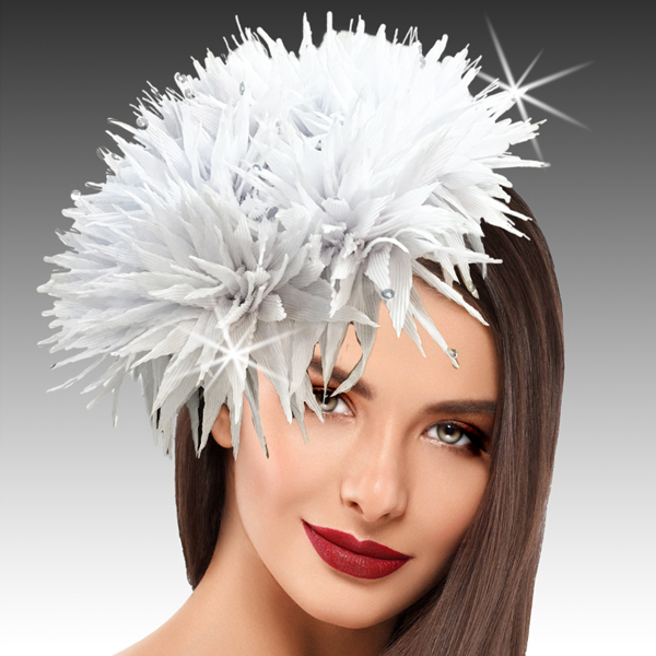 2424 Sea Urchin-WH ( Spiked Organza Sea Urchin Juliette Cap Fascinator Sprinkled With Sparkling Water Drop Sequins )