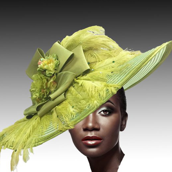 2428 Cornelia-LI ( Brim Derby Hat with a Luxurious Bouquet of Flowers and Ostrich Plumes )