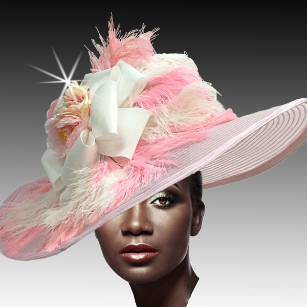 2428 Cornelia-PI ( Brim Derby Hat with a Luxurious Bouquet of Flowers and Ostrich Plumes )