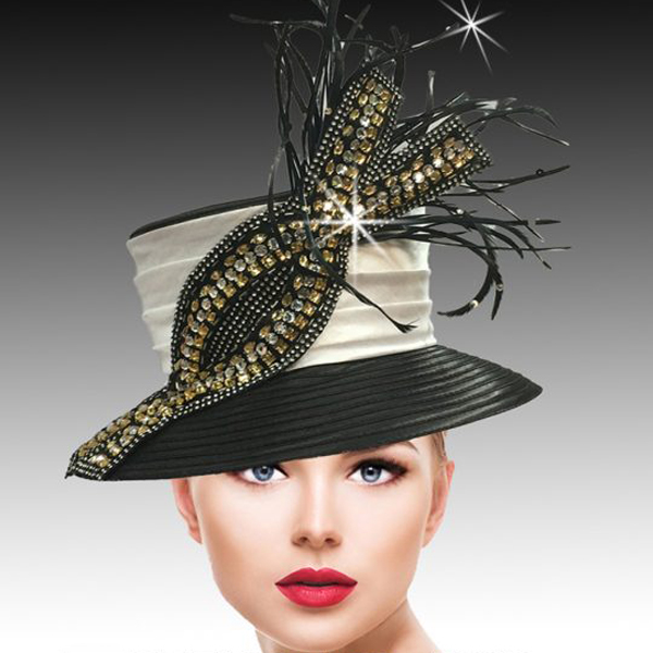 2430 Helix-BG ( Classic Bucket Hat with Crystal and Sequin Helix Embellishment )