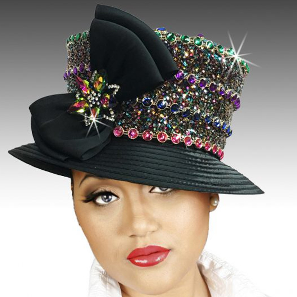 2431 Pippin-BL ( Richly Hued Mini Sequin and Jewel Bucket Hat with Tuxedo Bow )