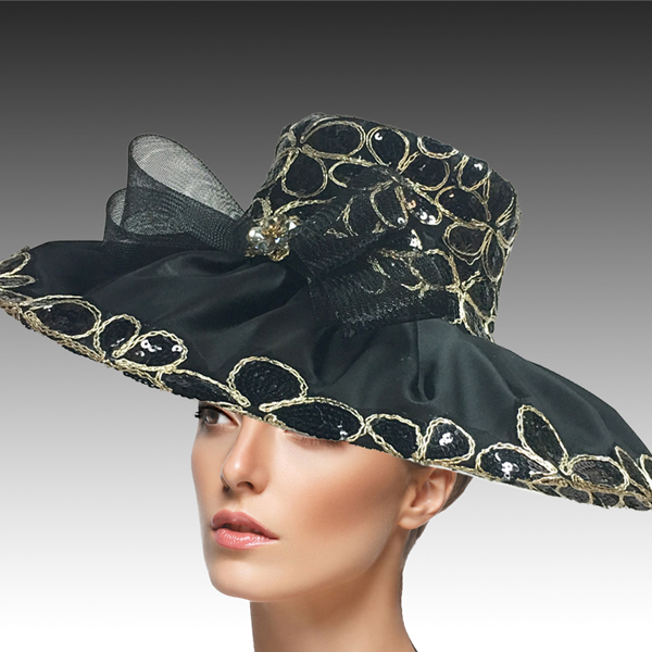 2432 Natasha-BL ( Derby Hat Adorned With Sequins And Embroidery To Add Rich And Elegant Texture )