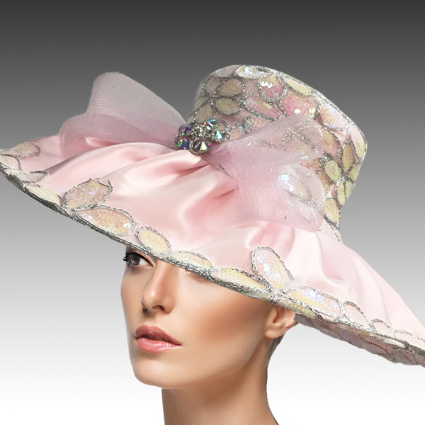 2432 Natasha-PK-CO ( Derby Hat Adorned With Sequins And Embroidery To Add Rich And Elegant Texture )