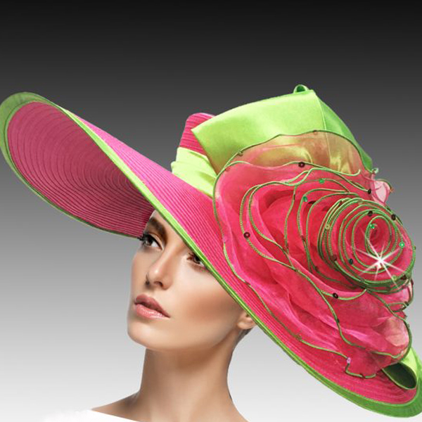 2456 Lois-LP ( Large Brim Garden Hat In Space Dyed Braid With Crystal Encrusted Crown And Edge )