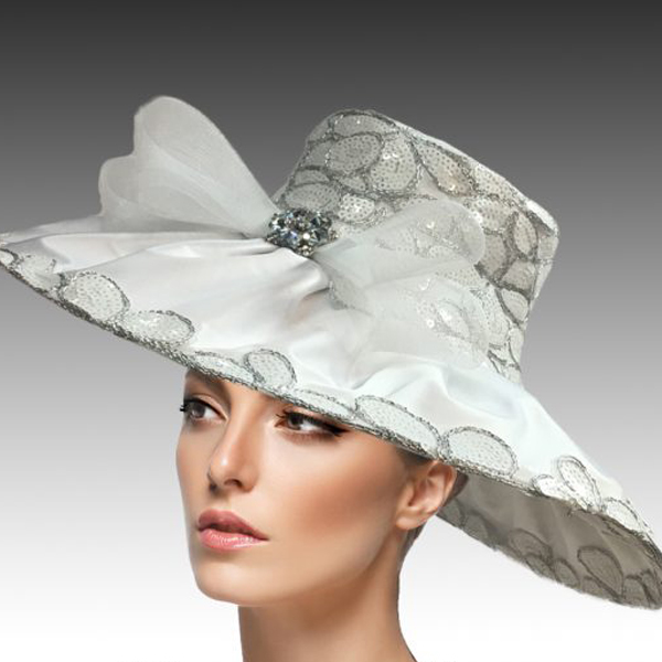 2432 Natasha-WH ( Derby Hat Adorned With Sequins And Embroidery To Add Rich And Elegant Texture )