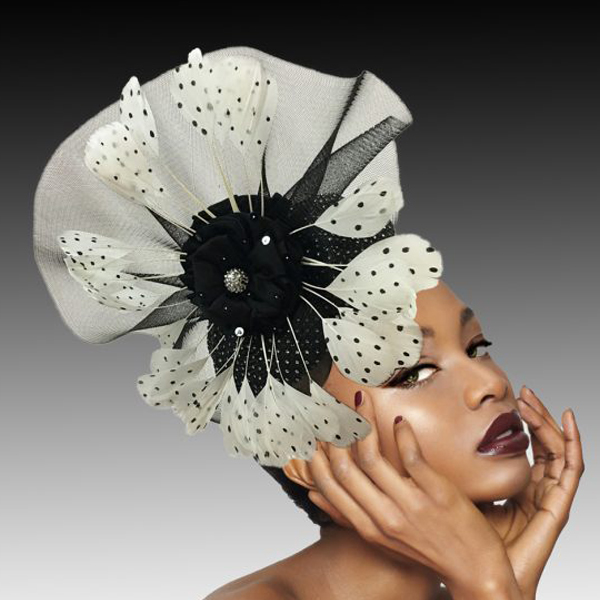 2434 Monarch-BW ( Jewel Encrusted Calot Fascinator With Illusion Fan And Polka Dot Feather Spokes )