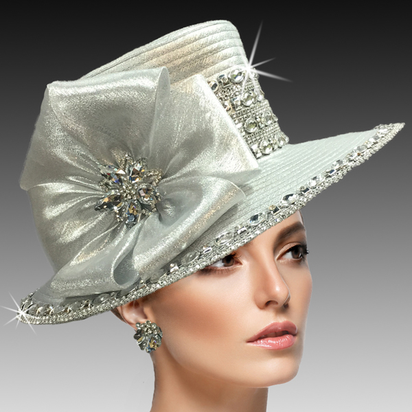 2435 Sakura-SI ( Shimmery Medium Brim Hat With Bands Of Faux Crystal Trim )