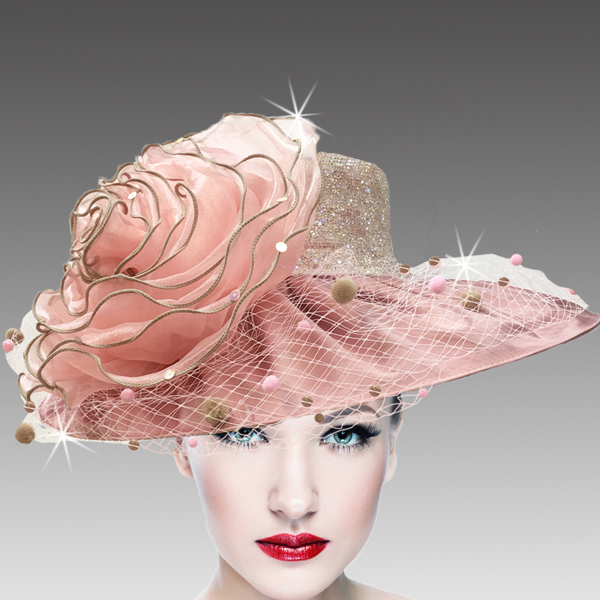 2437 Macaron-BL-CO ( Lovely Peau De Soie Hat With Giant Organza Rosette )