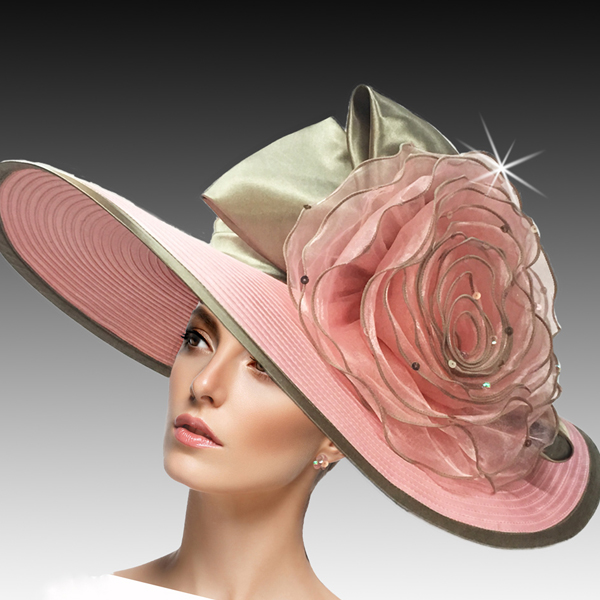 2401 Judy-PI ( Easter and Derby Hat With Jewel Organza Rosette )
