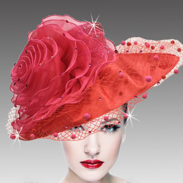 2437 Macaron-RE ( Lovely Peau De Soie Hat With Giant Organza Rosette )