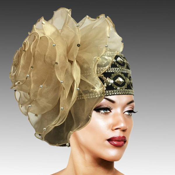 2438 Unicorn-GO ( Richly Adorned Bubble Hat With A Luxurious Organza Rosette  )