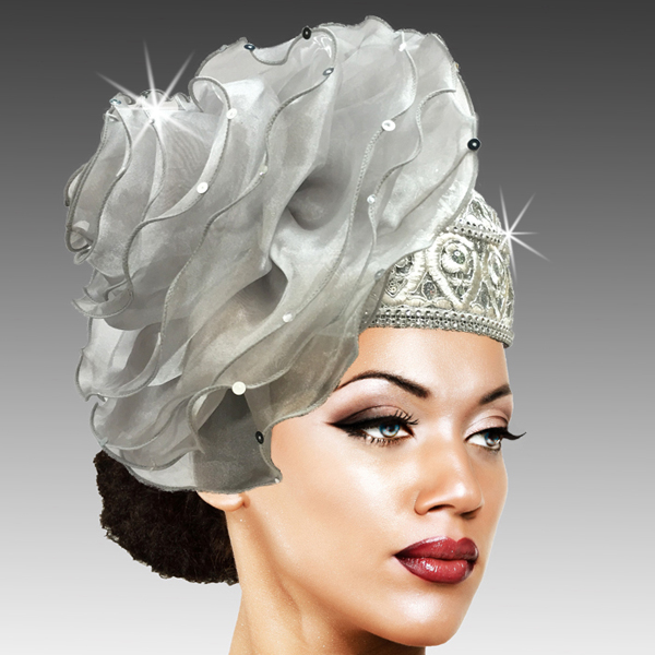 2438 Unicorn-SI ( Richly Adorned Bubble Hat With A Luxurious Organza Rosette )