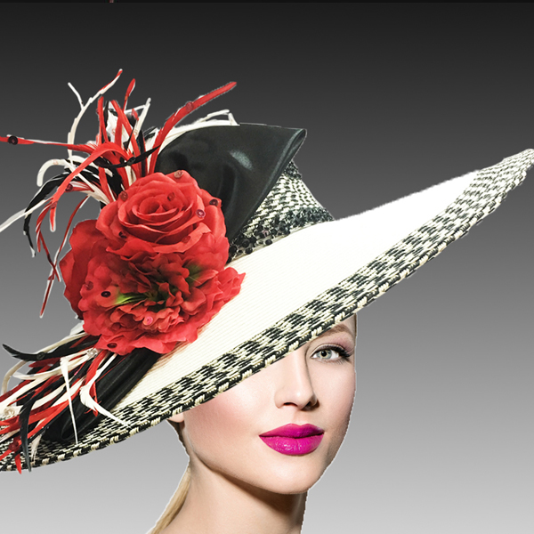 2453 Lisa-BL ( Spectator Fashion Derby Hat With A Contrasting Colored Edge Band And Bow )