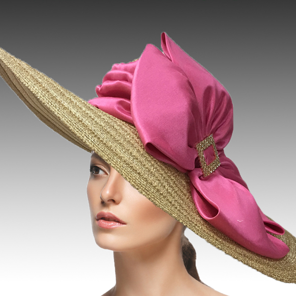 2454 Rachel-GO ( Large Metallic Picture Brim Special Occasion Hat With Stylish Double Bow )