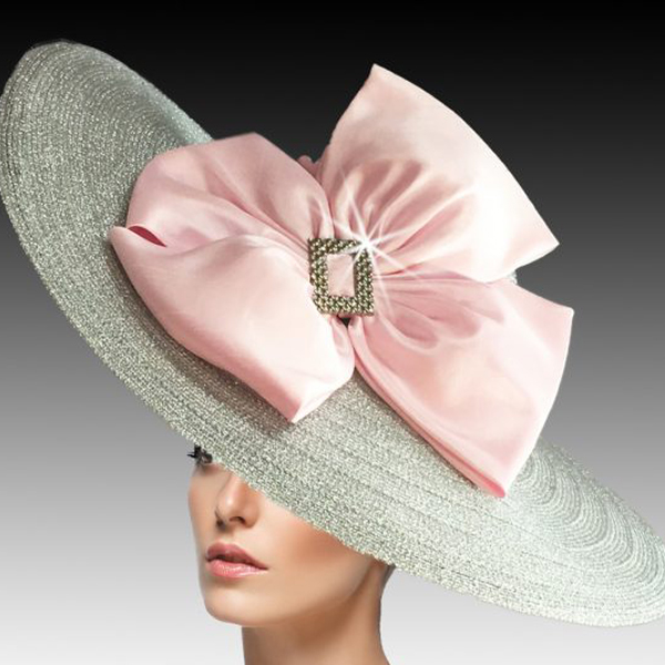 2454 Rachel-SI ( Large Metallic Picture Brim Special Occasion Hat With Stylish Double Bow )