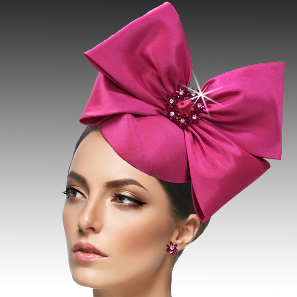 2417 Harry-FU ( Mini Nehru Pillbox Fascinator With A Crystal Wreath Bow )