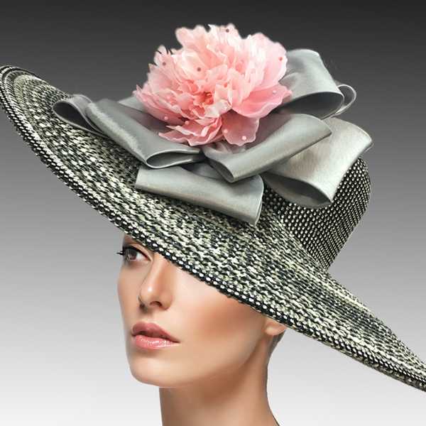 2456 Lois-BL ( Large Brim Garden Hat With Crystal Encrusted Crown And Edge )