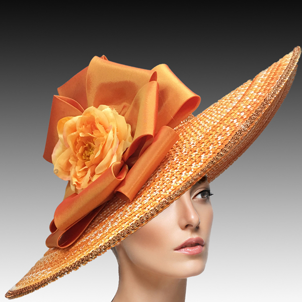 2456 Lois-OR ( Large Brim Garden Hat In Space Dyed Braid With Crystal Encrusted Crown And Edge )