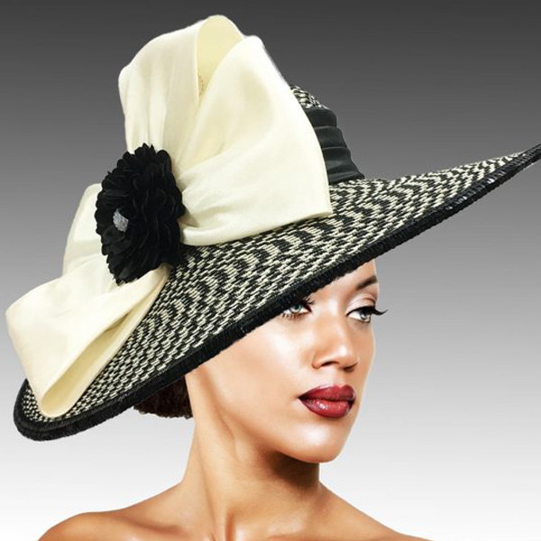 2457 Joyce-BW ( Derby Cartwheel Hat With Tailored Twin Bow And Boutonniere Bloom And Crystal Center )