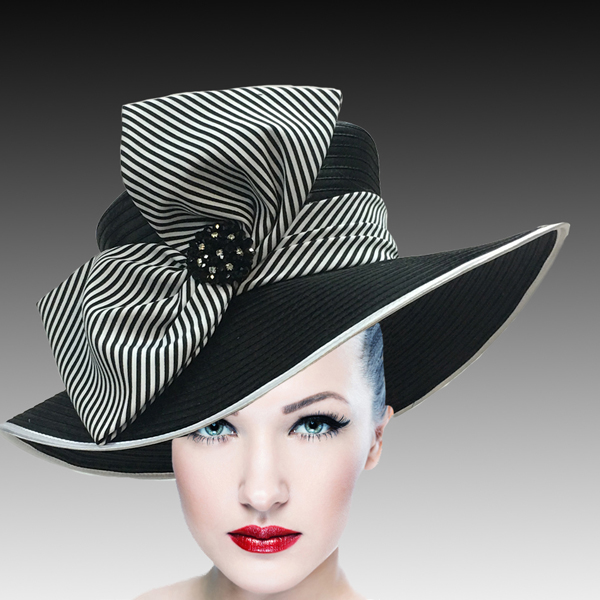 1508 Eva-BL ( Lovely Boater Hat With Profile Bow And Beaded Applique )