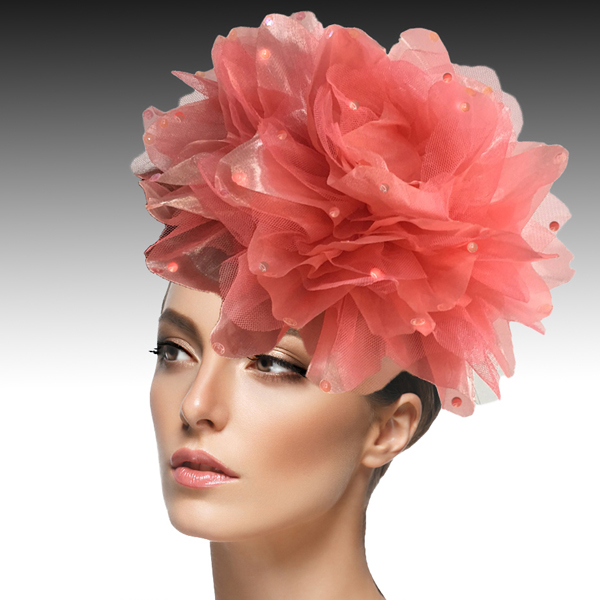 1705 Ian Fascinator-CO ( Decorative Headband With Oversized Shimmer Organza And Tulle Flower )