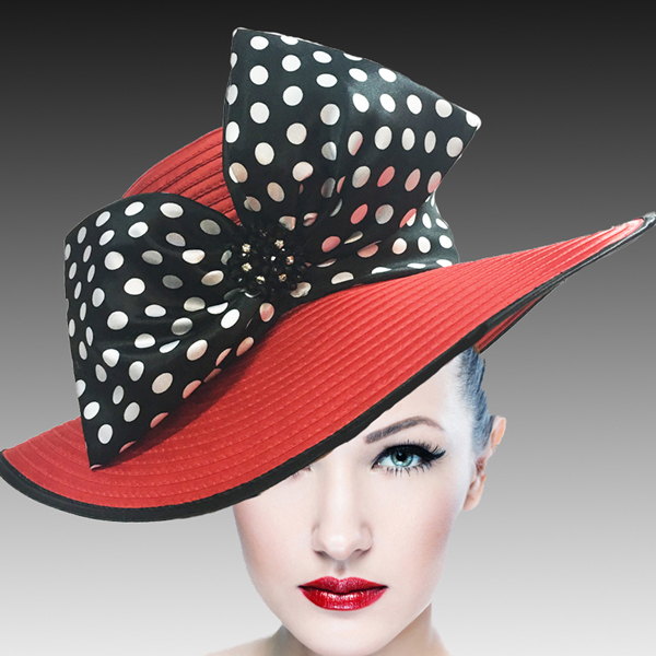 1508 Eva-RE ( Lovely Boater Hat With Profile Bow And Beaded Applique )