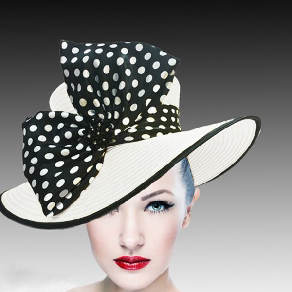 1508 Eva-WH ( Lovely Boater Hat With Profile Bow And Beaded Applique )