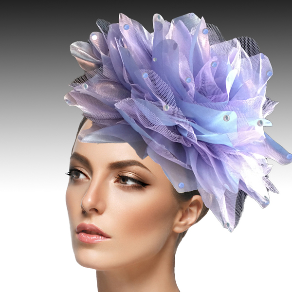 1705 Ian Fascinator-LI ( Decorative Headband With Oversized Shimmer Organza And Tulle Flower )