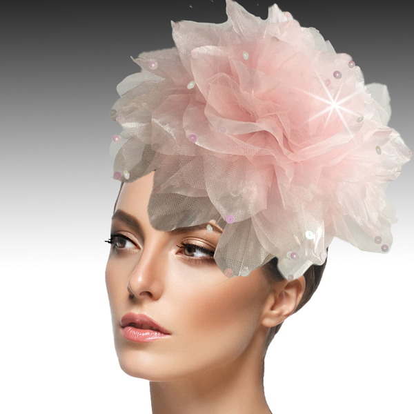 1705 Ian Fascinator-PI ( Decorative Headband With Oversized Shimmer Organza And Tulle Flower )