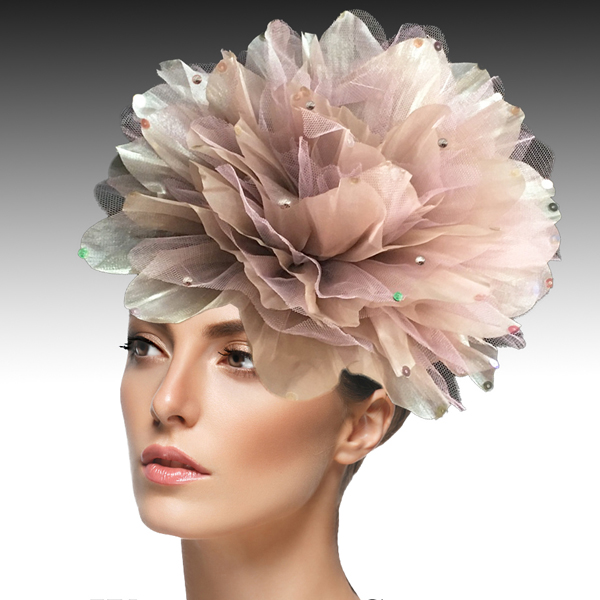 1705 Ian Fascinator-TA ( Decorative Headband With Oversized Shimmer Organza And Tulle Flower )