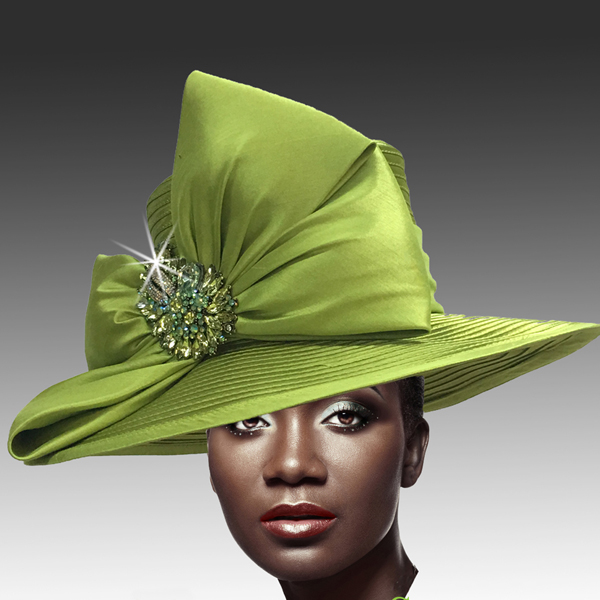 1813 St John-LI ( Classic Hat with Shantung Double Bow and Jewel Paisley Brooch )