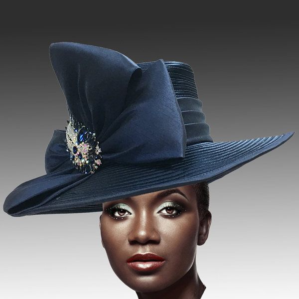 1813 St John-NA ( Classic Hat with Shantung Double Bow and Jewel Paisley Brooch )