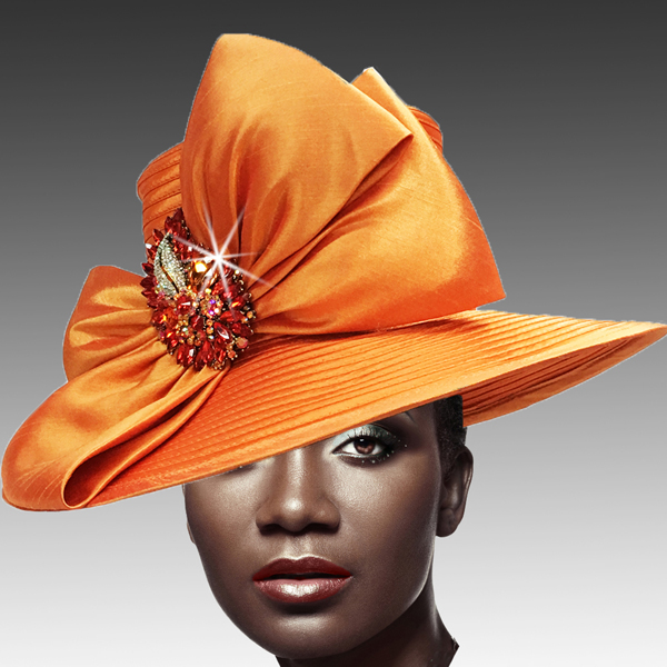 1813 St John-OR ( Classic Hat with Shantung Double Bow and Jewel Paisley Brooch )